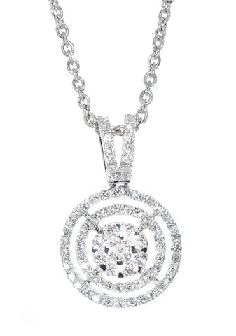 white gold halo circle diamond pendant