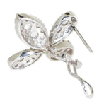white gold diamond flower earrings