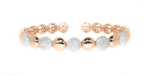 18kt Rose Gold Flexible Diamond Cuff Bracelet (.80 ctw)