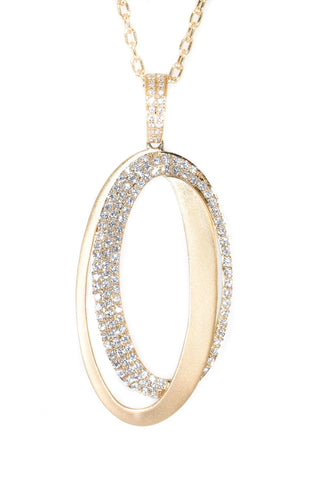 yellow gold satin oval diamond pendant