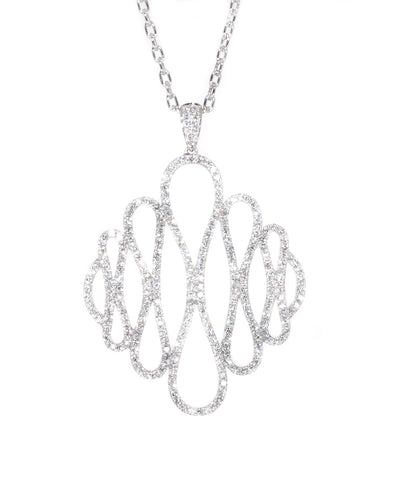 white gold diamond swirl pendant
