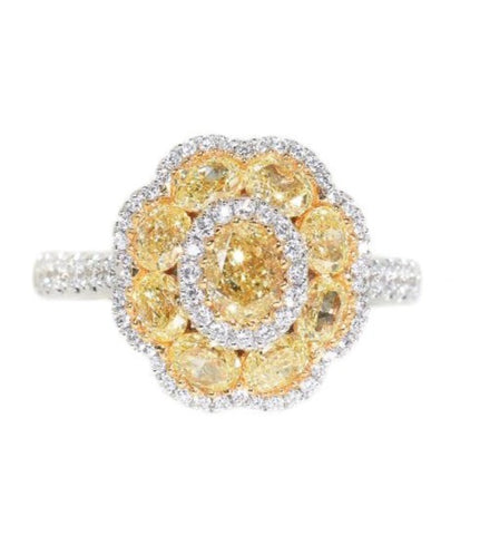 white gold fancy yellow diamond cluster ring