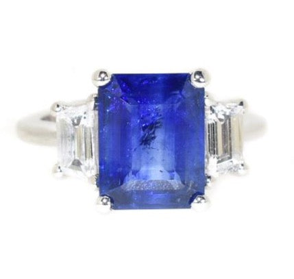 white gold blue sapphire and diamond three stone ring