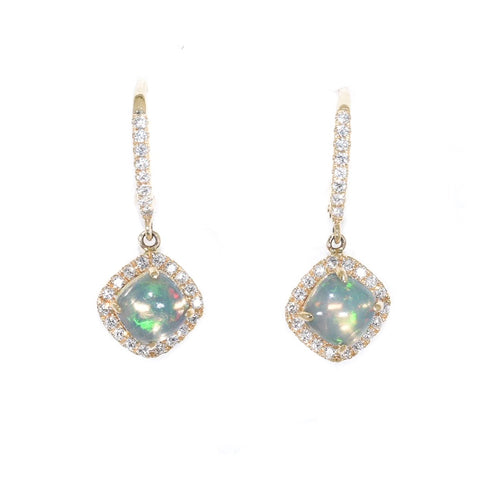 yellow gold opal and diamond drop earrings