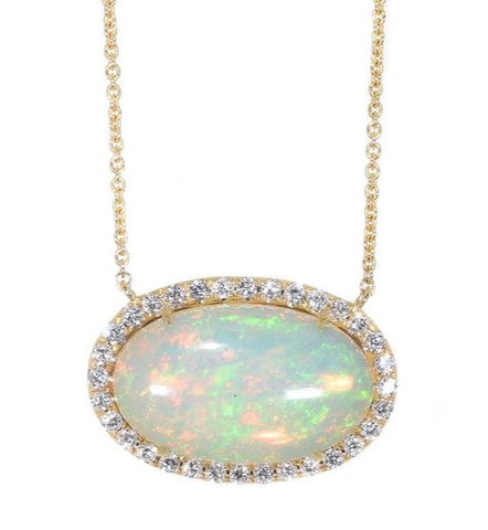 yellow gold opal and diamond horizontal oval pendant