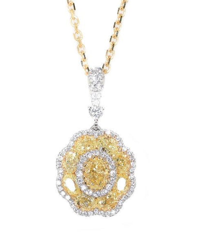 18kt White Gold Fancy Yellow Diamond Cluster Pendant