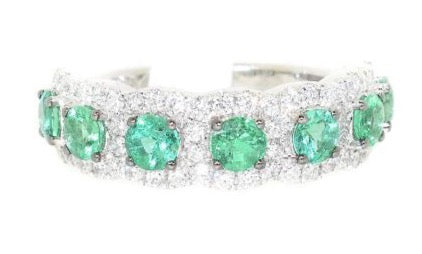 white gold emerald and diamond fashion ring