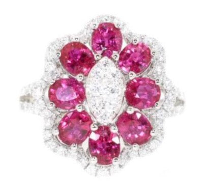 white gold ruby and diamond flower ring