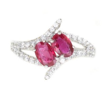 white gold ruby and diamond bypass ring