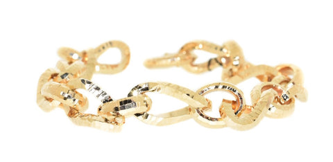 yellow gold diamond cut twisted link bracelet