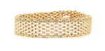 yellow gold multi row satin finish link bracelet with polished link edges