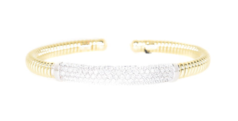 two tone stackable diamond cuff bracelet