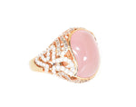 rose gold ring with rose quartz champagne diamonds and white diamonds