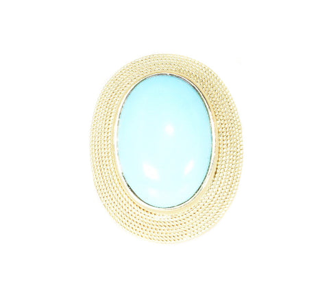 yellow gold beaded turquoise ring