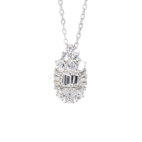 white gold multi shape diamond pendant necklace