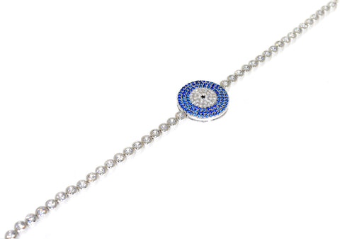 Sterling silver blue evil eye CZ bracelet
