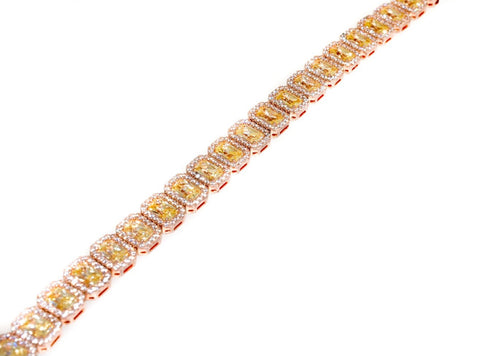 Sterling Silver Rose Gold Plated Yellow CZ Bracelet