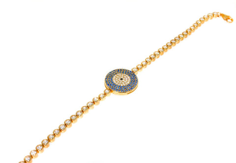 sterling silver gold plated blue evil eye cz bracelet