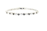 Sterling Silver Bezel-Set Black & White CZ Bracelet
