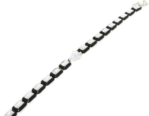 Sterling Silver Black Accented CZ Fashion Bracelet