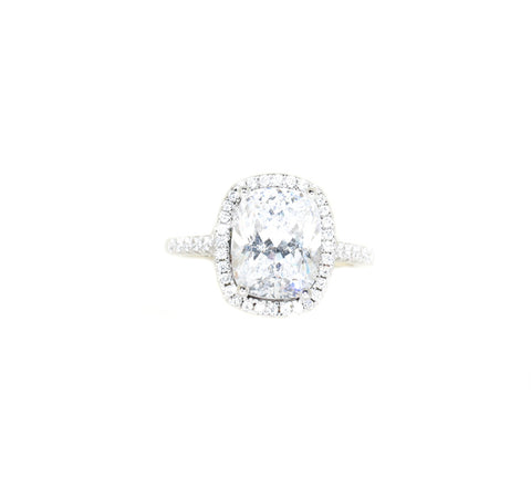 Sterling Silver Elongated Cushion CZ Halo Engagement Ring
