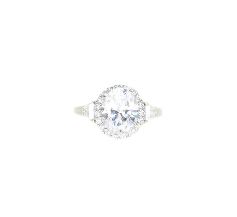 sterling silver oval cut cz with halo and trapezoid CZ engagement ring