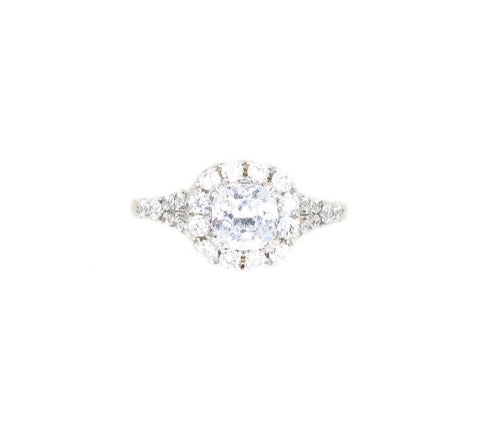 Sterling Silver Cushion Cut CZ Halo Engagement Ring