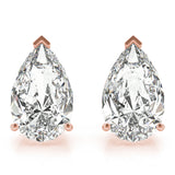 rose gold GIA Certified Pear Shape Diamond Stud Earrings