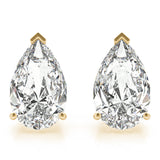 yellow gold GIA Certified Pear Shape Diamond Stud Earrings
