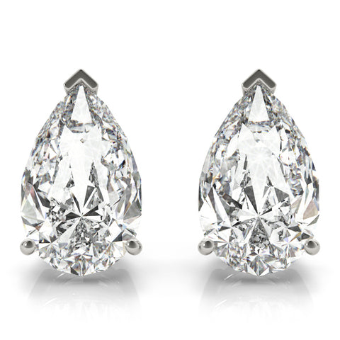 platinum GIA Certified Pear Shape Diamond Stud Earrings