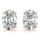 rose gold GIA Certified Oval Diamond Stud Earrings