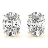 yellow gold GIA Certified Oval Diamond Stud Earrings