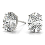 white gold GIA Certified Oval Diamond Stud Earrings