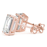 rose gold GIA Certified Emerald Diamond Stud Earrings
