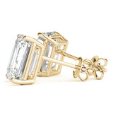 yellow gold GIA Certified Emerald Diamond Stud Earrings