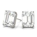 white gold GIA Certified Emerald Diamond Stud Earrings