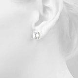 platinum GIA Certified Emerald Diamond Stud Earrings