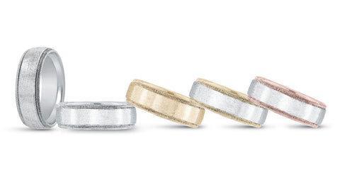 white gold men's milgrain wedding band, yellow gold men's milgrain wedding band, white and yellow gold men's milgrain wedding band, white and rose gold men's milgrain wedding band