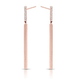 rose gold diamond drop earrings with matte finish