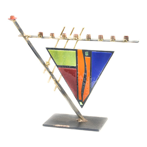 gary rosenthal triangular Art Deco colorful menorah