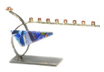gary rosenthal small curved menorah with glass triangle