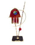 gary rosenthal copper hamsa sculpture with colorful glass eye