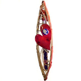 gary rosenthal copper heart wedding mezuzah with glass shard holder