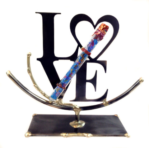 gary rosenthal LOVE sculpture with wedding glass keepsake