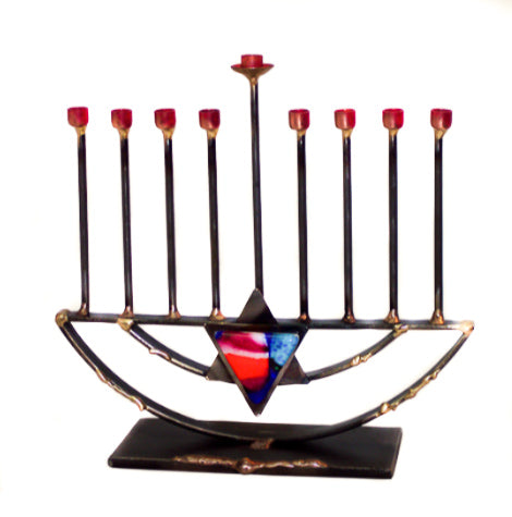 gary rosenthal small rod menorah with star of David