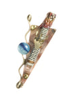 gary rosenthal small triangular mezuzah with colorful glass bead