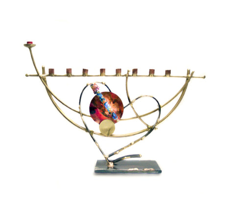 gary rosenthal two tone heart wedding menorah