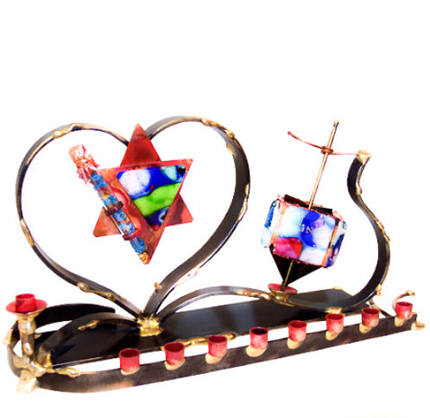 gary rosenthal colorful wedding menorah and dreidel combo