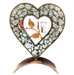 Gary rosenthal crystal shards heart sculpture with green inlay and a laser cut LOVE on vines with wedding shards tube