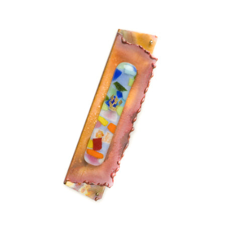 gary rosenthal small copper folded mezuzah with colorful fused glass
